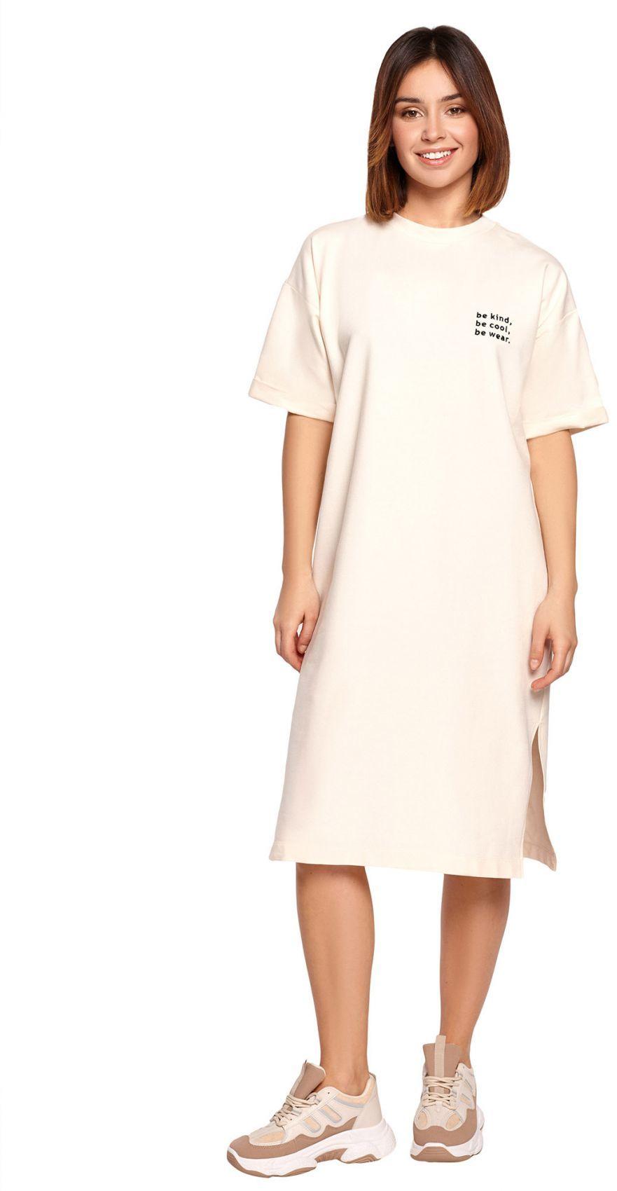 B194 Sukienka t-shirtowa - śmietankowa