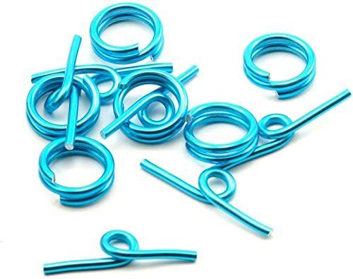 Vaessen Creative Aluminiowe zamknięcie z przetyczką niebieskie 6 sztuk, aluminium, turkusowe, 0,5 x 0,5 x 0,2 cm