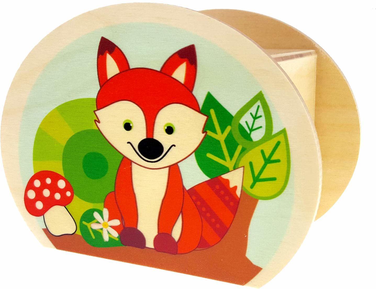 Hess drewniana zabawka 15216  skarbonka z drewna, z kluczami, zwierzętami leśnymi, sową, jeżem i lisem, prezent dla dzieci na urodziny, ok. 11,5 x 8,5 x 6,5 cm