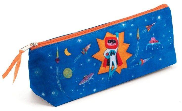 Niebieski piórnik dla dzieci Kosmos DD03513-Djeco, akcesoria szkolne dla dzieci