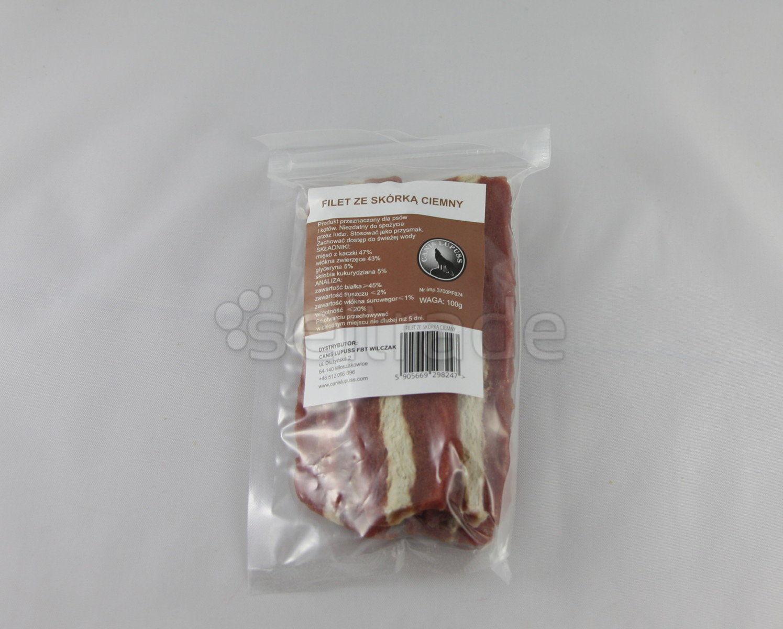 Przysmak smakołyk karma dla psa kota filet ze skórką ciemny 100g