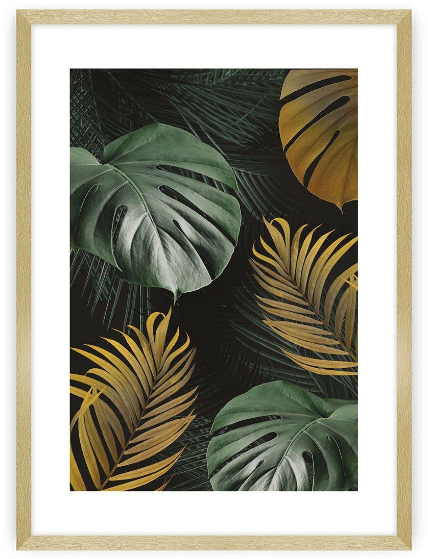 Plakat Golden Leaves I, 40 x 50 cm, Ramka: Złota