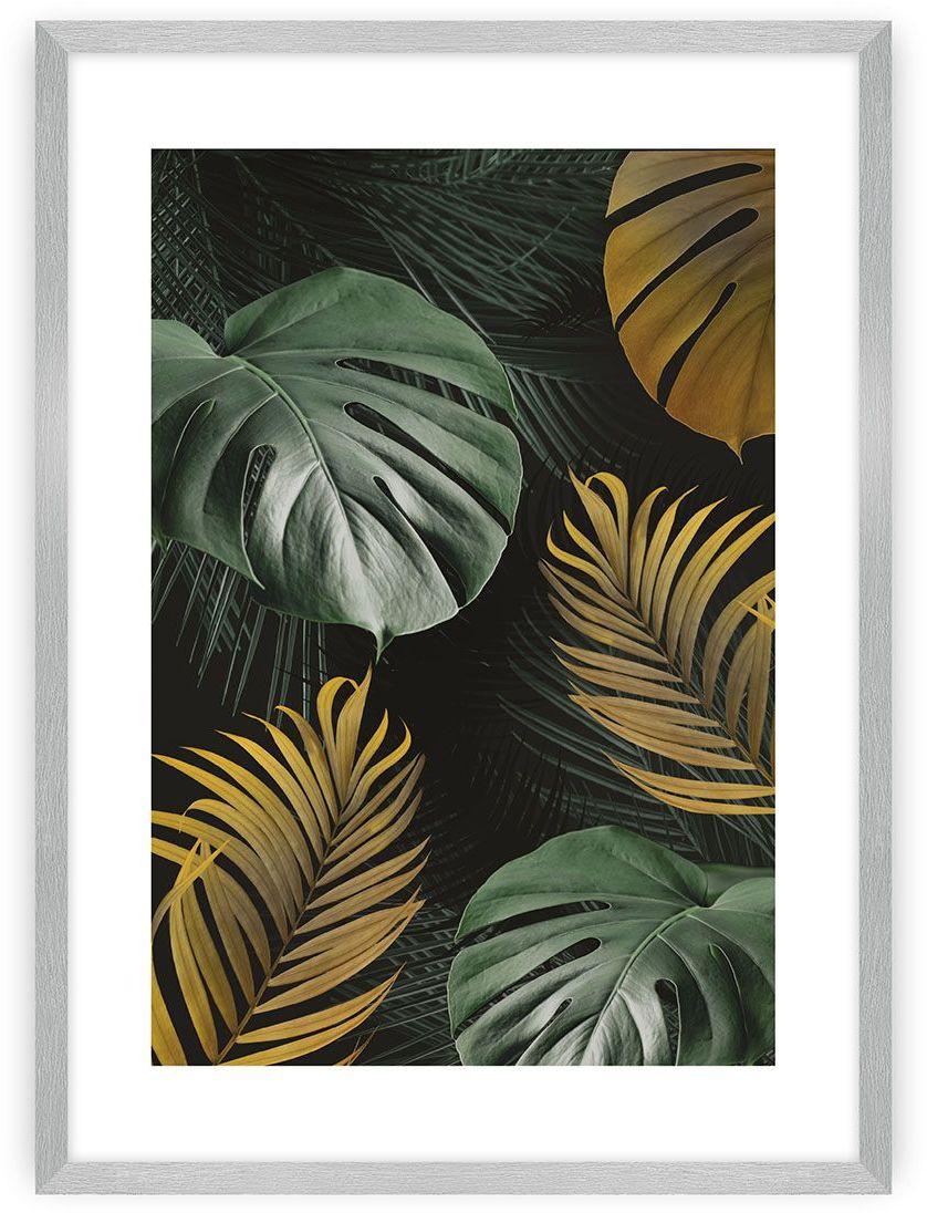 Plakat Golden Leaves I, 40 x 50 cm, Ramka: Srebrna