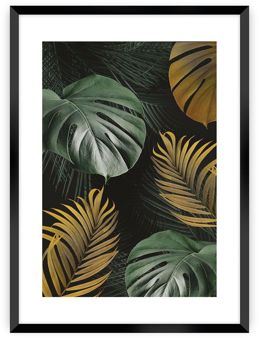 Plakat Golden Leaves I, 40 x 50 cm, Ramka: Czarna