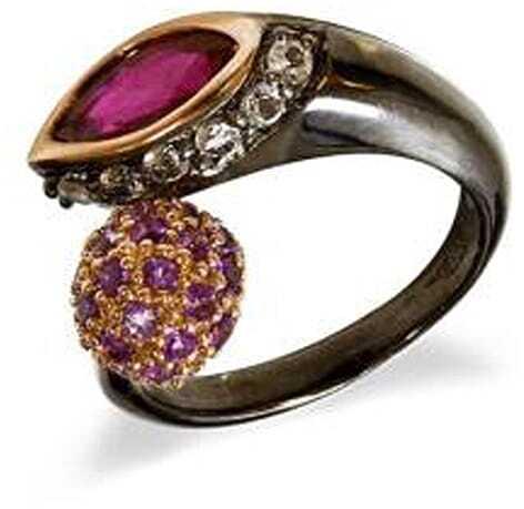 GARBO; Srebrny pierścionek z granatem