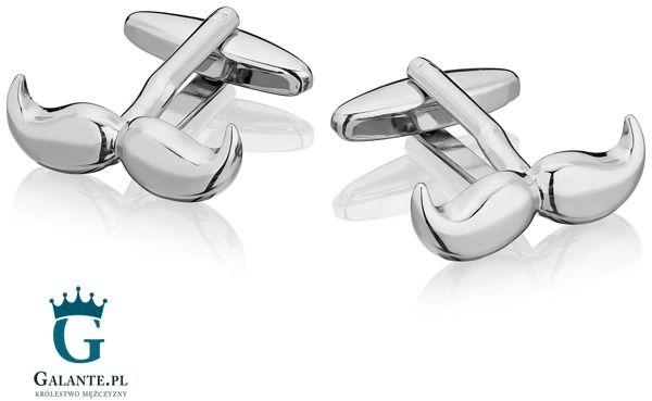 Spinki do mankietów x2 wąsy srebrne