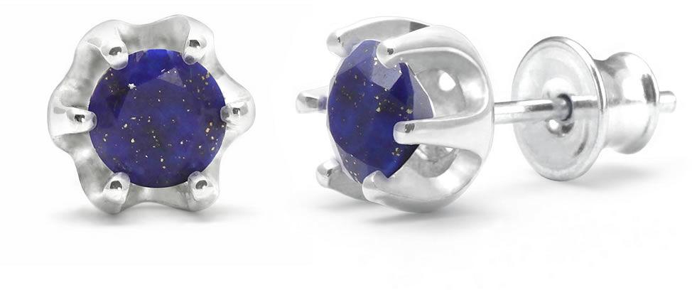 Kuźnia Srebra - Kolczyki srebrne sztyft, 16mm, Lapis Lazuli, 2g, model
