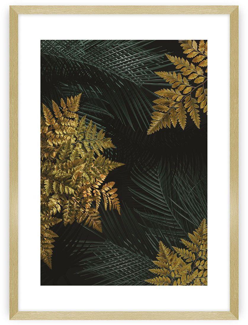 Plakat Golden Leaves II, 40 x 50 cm, Ramka: Złota