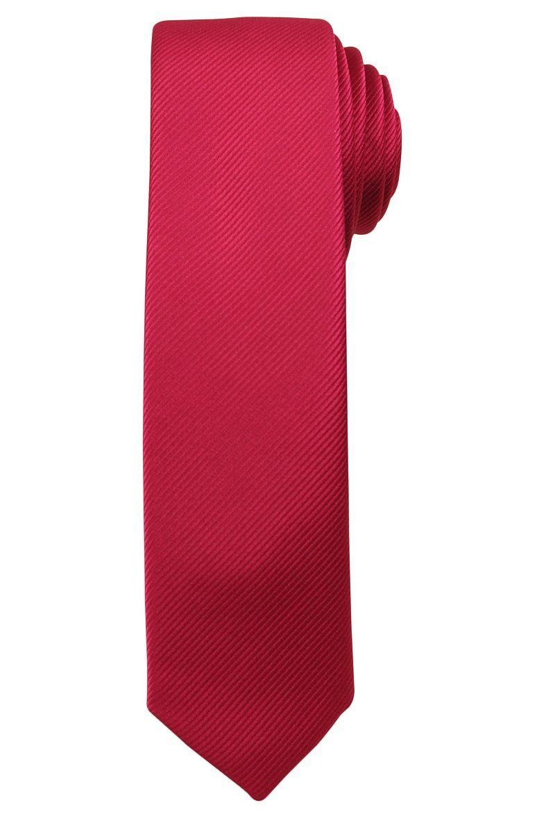 Jednokolorowy Krawat Męski, Śledź - 5 cm - Angelo di Monti, Rubinowy KRADM1408