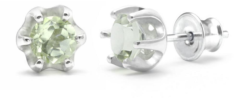 Kuźnia Srebra - Kolczyki srebrne sztyft, 16mm, Zielony Ametyst, 2g, model