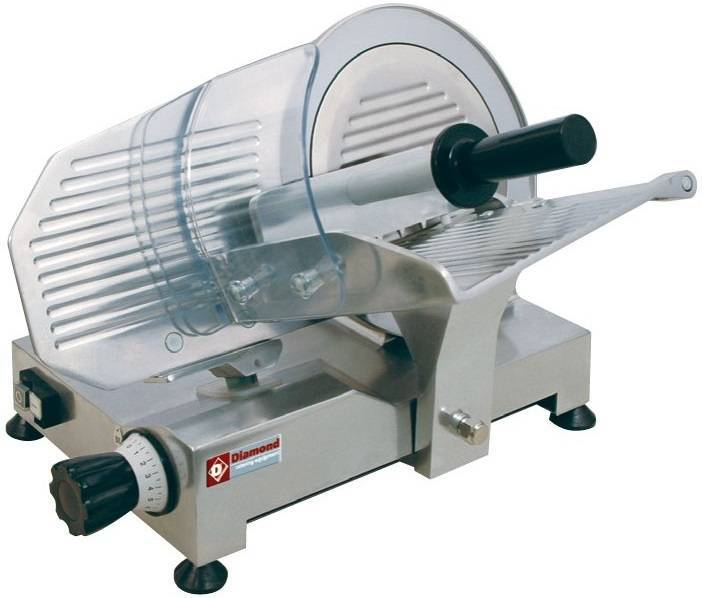 Krajalnica do wędlin z nożem o średnicy 250 mm i mocy 150 W