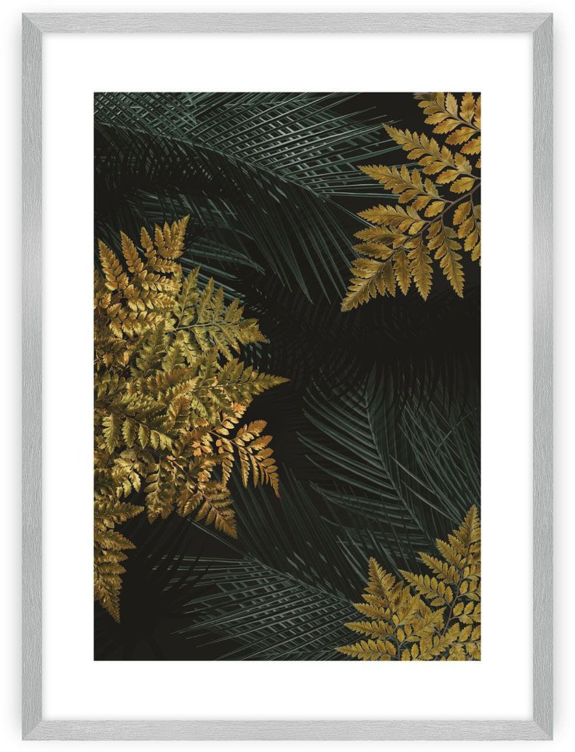 Plakat Golden Leaves II, 40 x 50 cm, Ramka: Srebrna