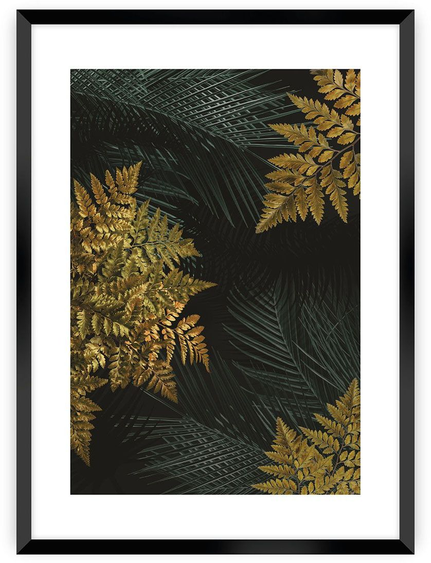 Plakat Golden Leaves II, 40 x 50 cm, Ramka: Czarna