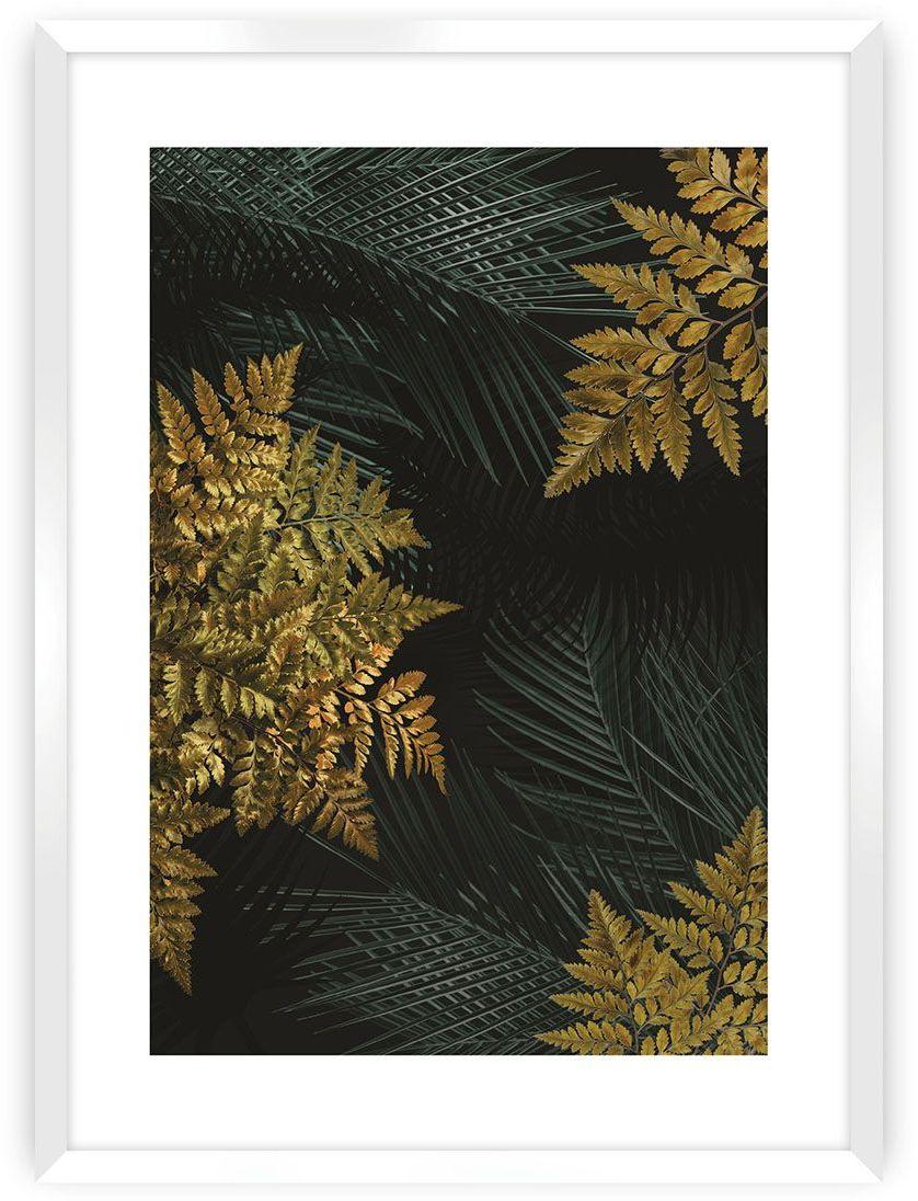 Plakat Golden Leaves II, 40 x 50 cm, Ramka: Biała
