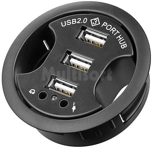 Biurkowy HUB 3x USB 2.0 z wejściem i wyjściem Audio mini jack 3,5mm