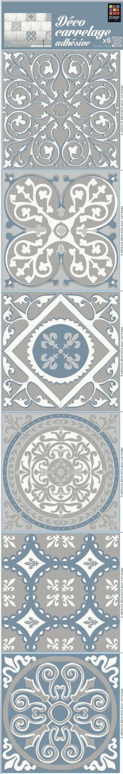 PLAGE Smooth - Tiles naklejki na płytki cementowe szare 2-AZULEJOS[6 arkuszy 15 x 15 cm], winyl, szary, 15 x 0,1 x 15 cm