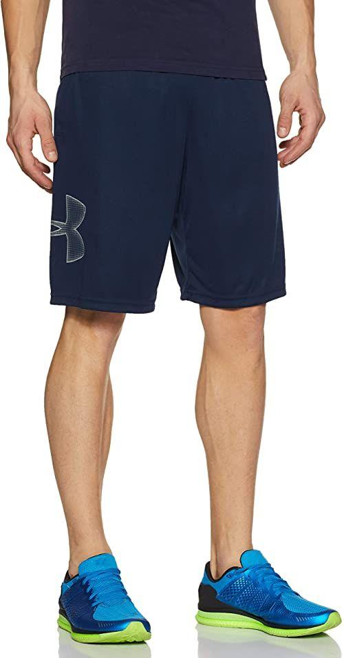 Under Armour Męskie oddychające szorty dresowe dla mężczyzn, wygodne krótkie spodnie o luźnym kroju Tech Graphic niebieski niebieski (Academy) l