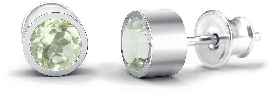 Kuźnia Srebra - Kolczyki srebrne sztyft, 15mm, Zielony Ametyst, 3g, model