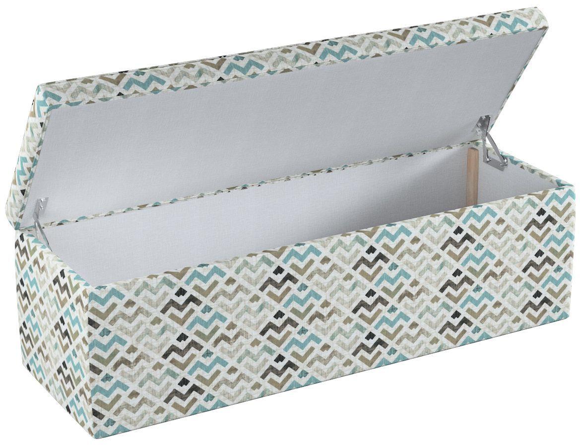 Skrzynia tapicerowana, wzór geometryczny w odcieniach pastelowego błękitu i beżu na jasnym tle , 90  40  40 cm, Modern