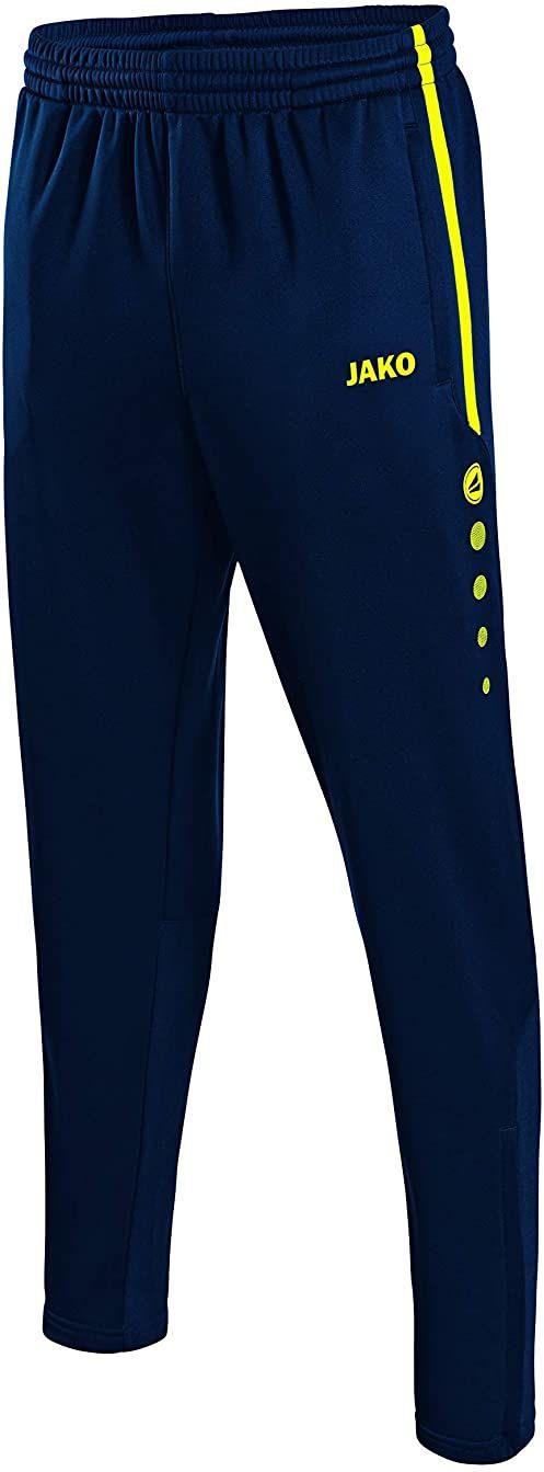 JAKO męskie spodnie treningowe Active, granatowy/neonowy żółty, M, 8495