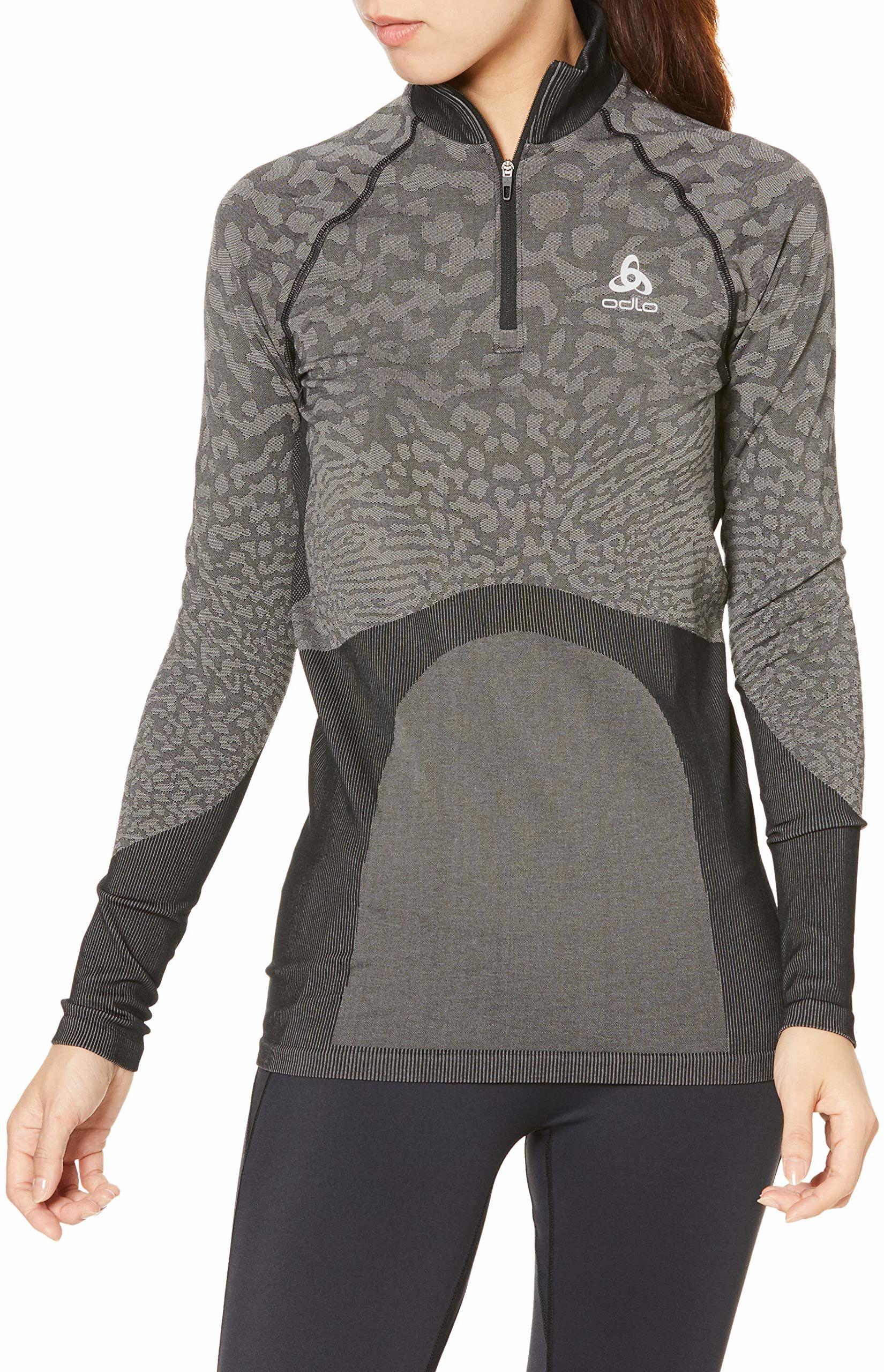 Odlo damska koszulka z długim rękawem BL Turtle Neck Half Zip Blackcomb z długim rękawem czarna, szara koszulka, XL