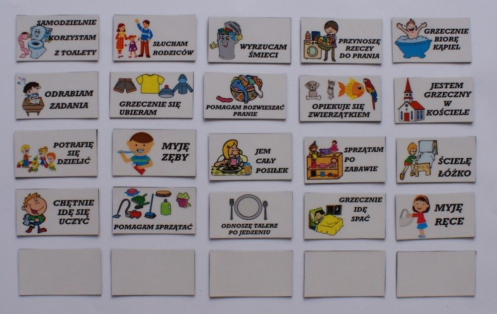 Obowiązki magnetyczne do tablicy motywacyjnej - komplet