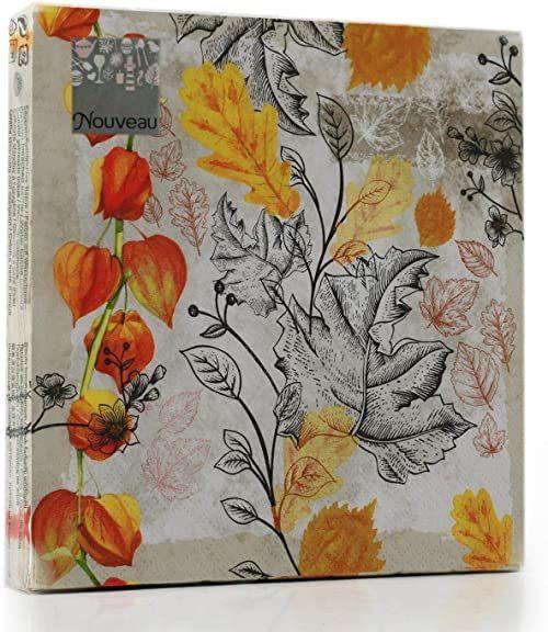 Nouveau Fallen Leaves serwetki papierowe, wielokolorowe, 33 x 33
