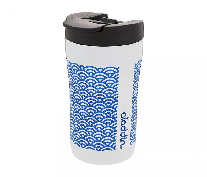 Kubek termiczny Aladdin Latte Leak-Lock 250 ml (biały - wzór niebieski)