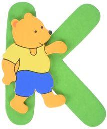 Woodyland 6 x 8 cm alfabet K z niedźwiedziem.