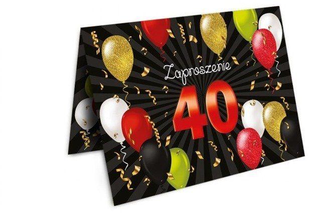 Zaproszenia na 40 urodziny z kopertami 10 sztuk ZX6808-10