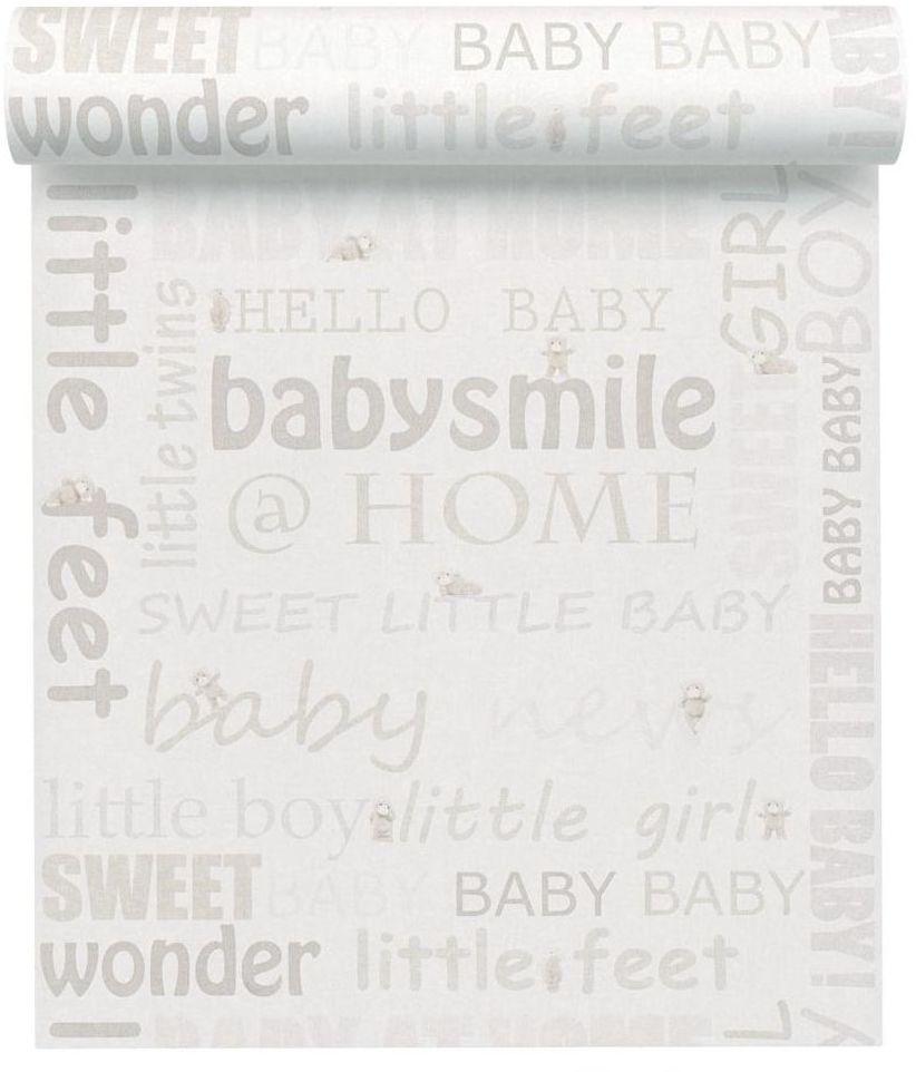Tapeta dla dzieci Babie Smile beżowa winylowa na flizelinie