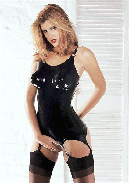 Sharon Sloane Latex Corselette - Black Latex Corset L