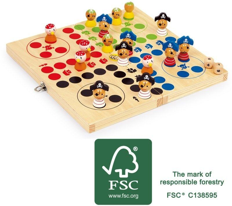 """Drewniana gra dla dzieci, Chińczyk """"Piracka wyspa"""", 10951-small foot design"""