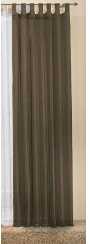Zasłona na szelkach, przezroczysta, jednokolorowa firanka z woalu, wiele atrakcyjnych kolorów, rozmiar specjalny, 175 x 140 cm (wys. x szer.), brązowa, 611750