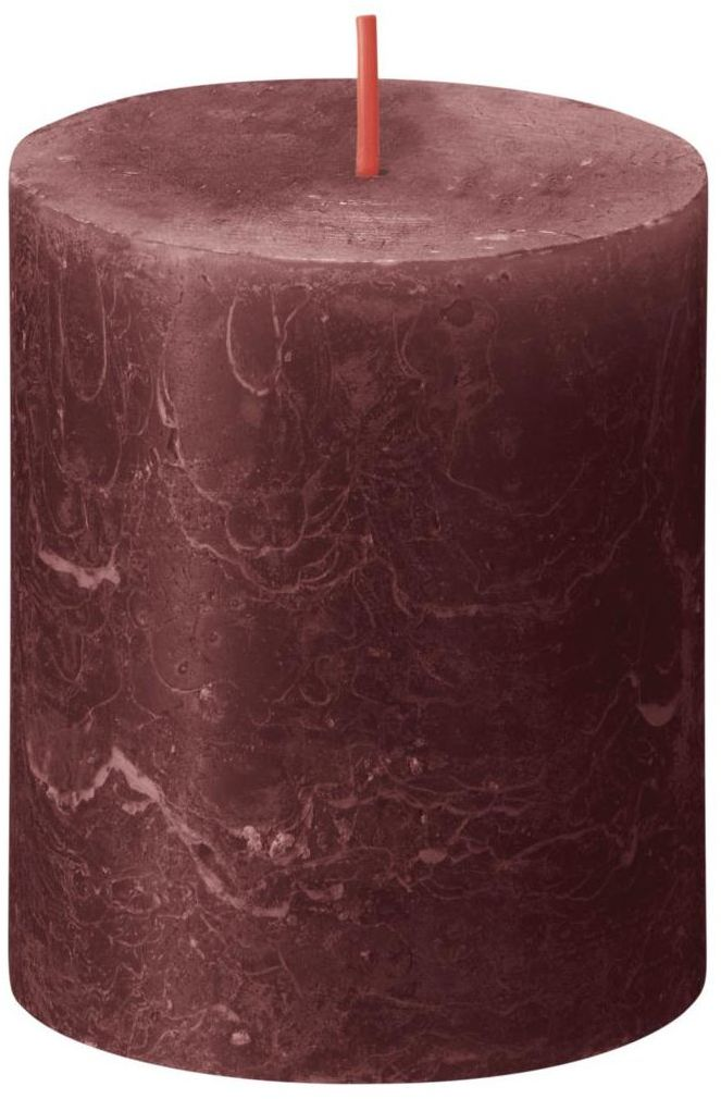 Świeca pieńkowa Rustic Shine czerwona wys. 8 cm Bolsius