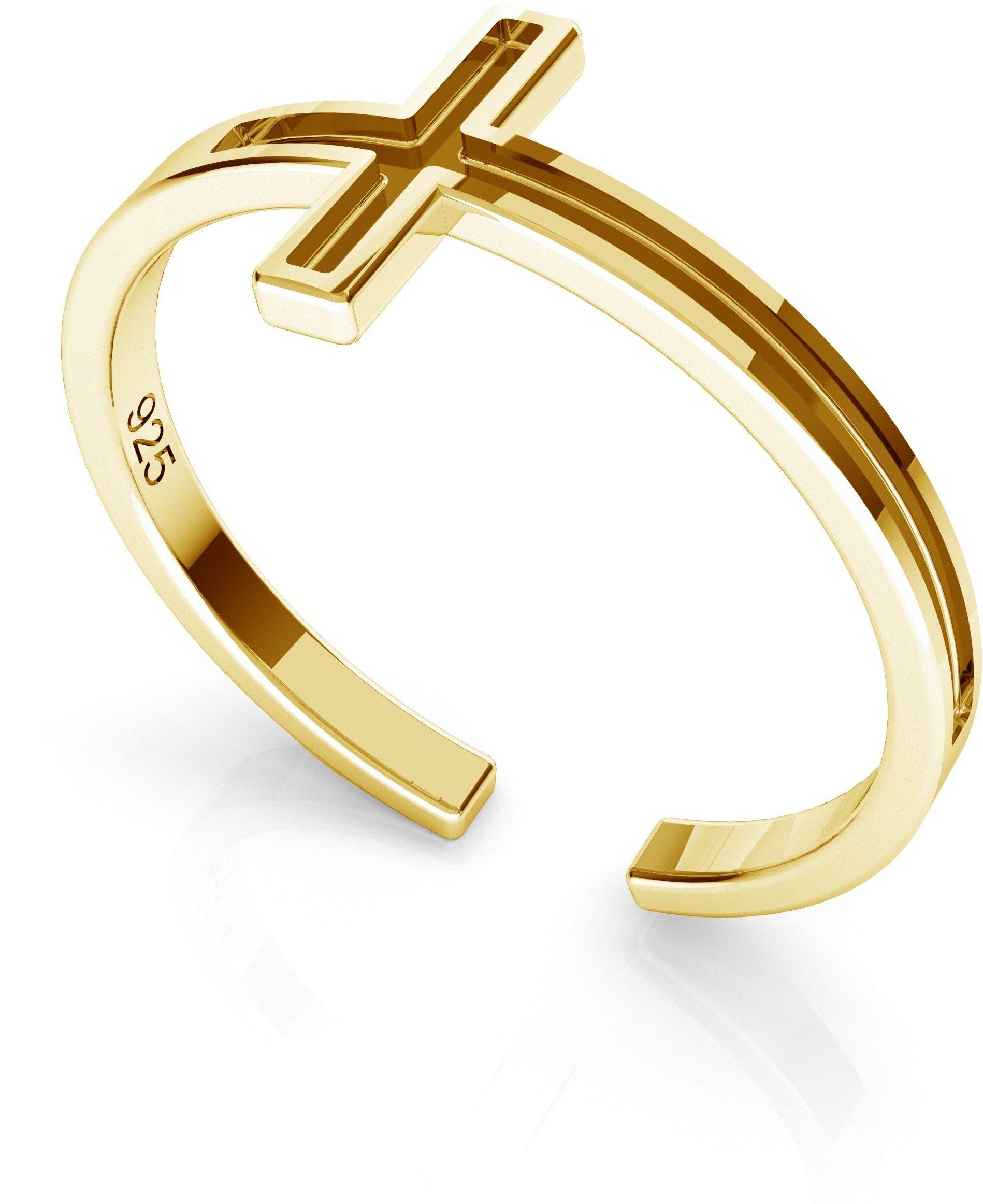 Srebrny pierścionek z krzyżykiem, srebro 925 : Srebro - kolor pokrycia - Pokrycie żółtym 18K złotem