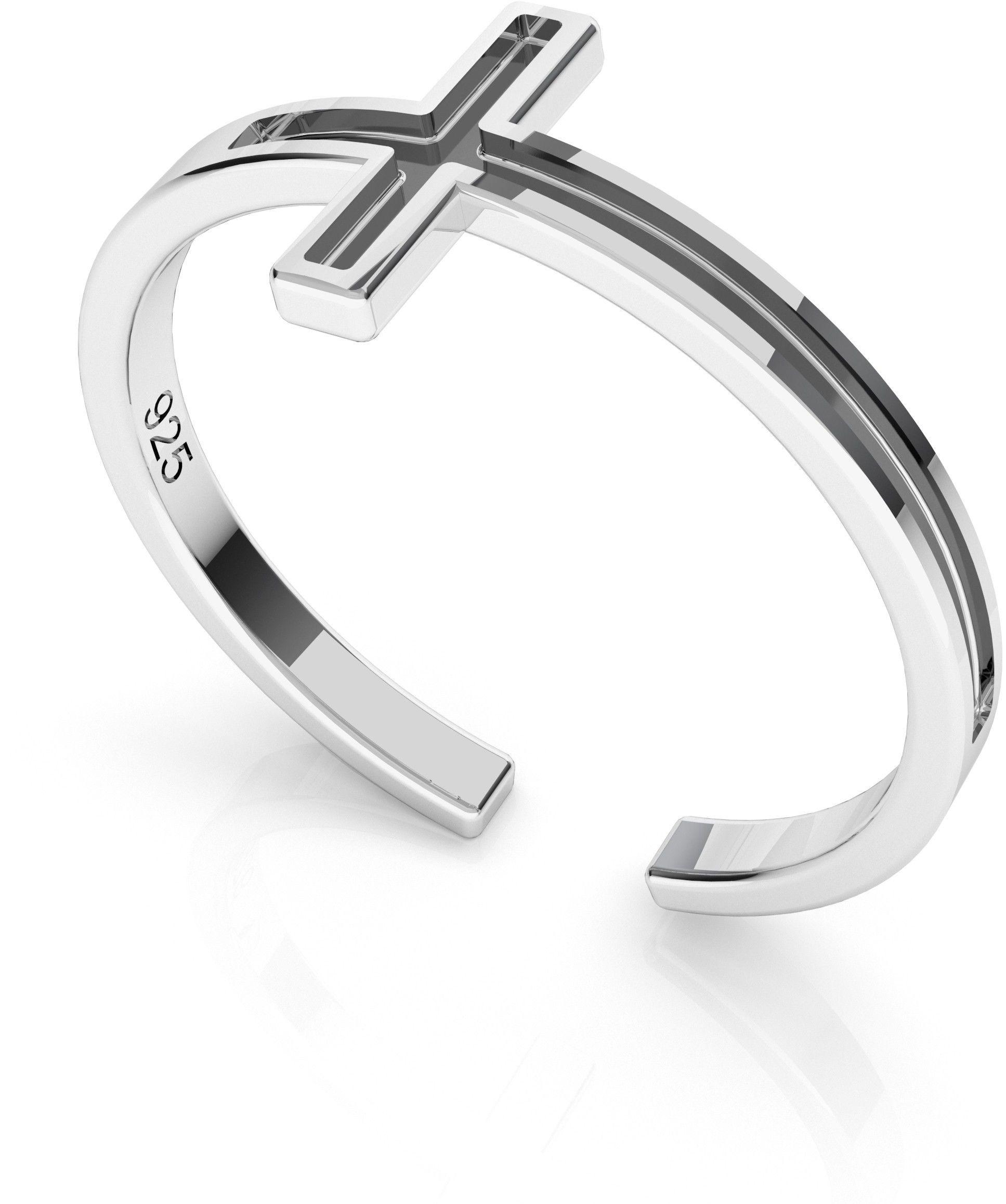 Srebrny pierścionek z krzyżykiem, srebro 925 : Srebro - kolor pokrycia - Pokrycie platyną