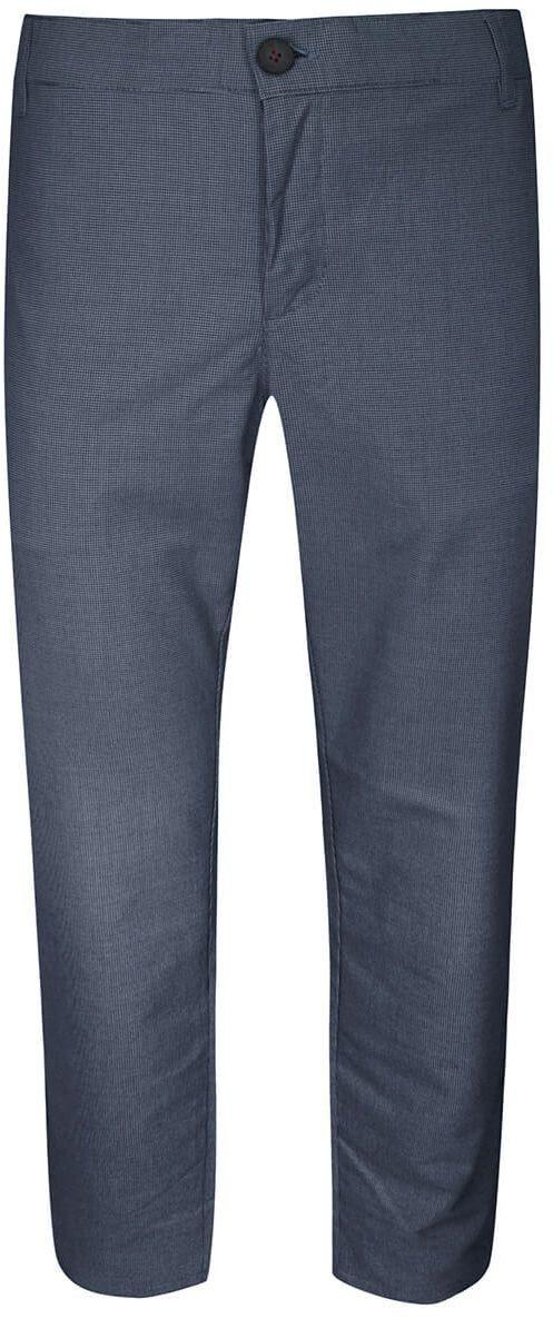 Spodnie Męskie, Granatowe w Pepitkę, Casualowe, Zwężane, Chinosy z Elastanem -RIGON SPRGNTB08pepitkagran