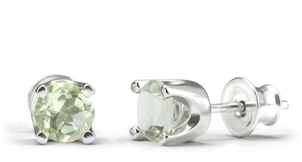 Kuźnia Srebra - Kolczyki srebrne sztyft, 15mm, Zielony Ametyst, 2g, model
