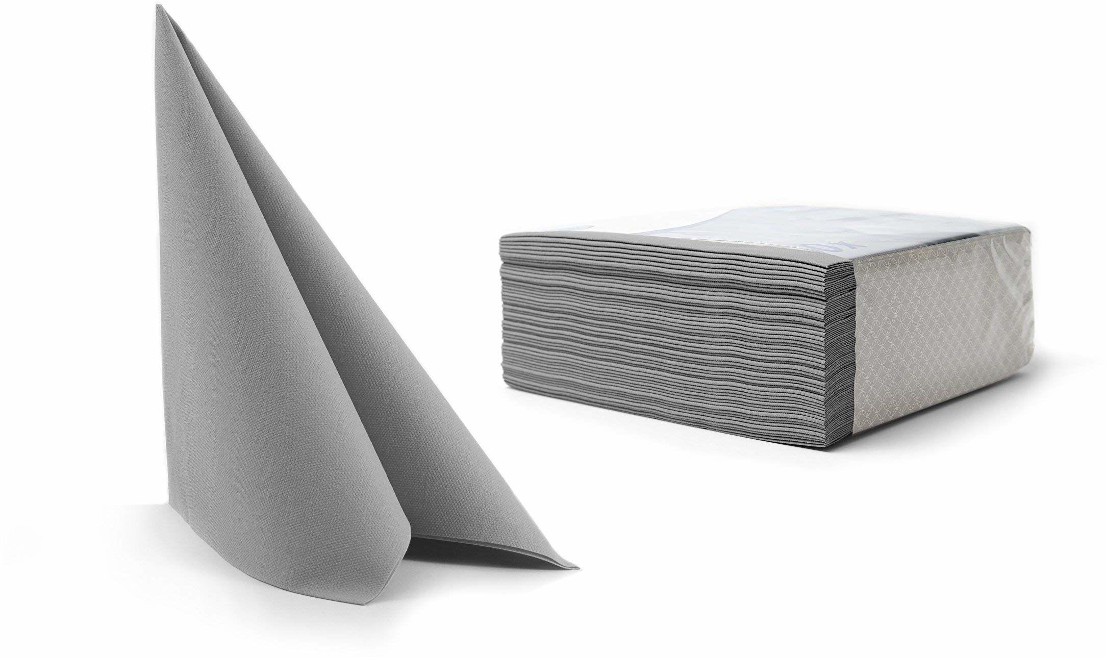 Alvotex CHIC Airlaid 50 serwetki, tkaninopodobne wysokiej jakości, serwetki jednorazowe, szare, 40 x 40 cm