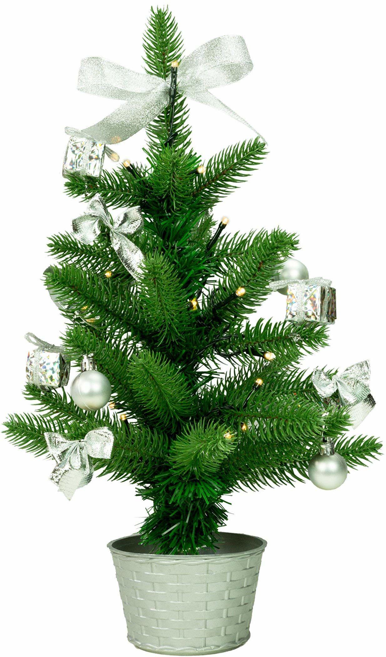 Best Season SA118, choinka LED z dekoracją, plastik, zielona, 20 x 20 x 45 cm