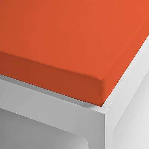 Miracle Home prześcieradło z gumką termiczną, mikrofibra, elastyczne Coralin jednokolorowe. 105 x 200 cm pomarańczowy