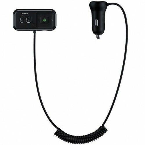 Ładowarka samochodowa + Transmiter FM Baseus T-Typed S-16 2x USB-A, 3,1A, czarna