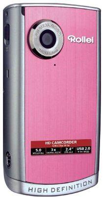 Rollei Movieline HD 50 kamera kieszonkowa (5 megapikseli, 3-krotny zoom cyfrowy, 6 cm (2,4 cala) LTPS-LCD, 2 GB karta SD) różowa