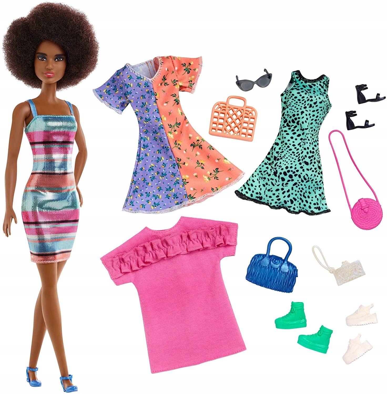 Barbie Fashion Doll + 3 modne kreacje GHT32