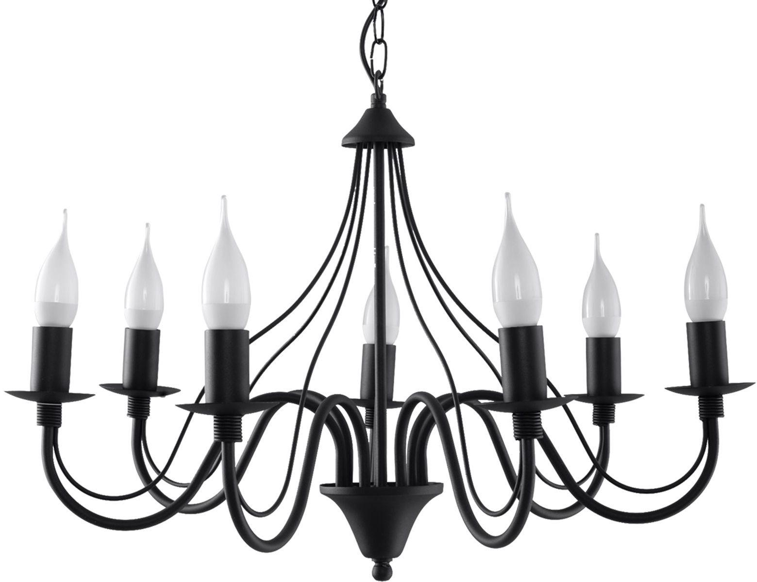 Żyrandol duży świecznik E755-Minerwi - czarny