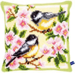 Vervaco Poduszka do haftu krzyżykowego: Ptaki i kwiaty, wielokolorowa