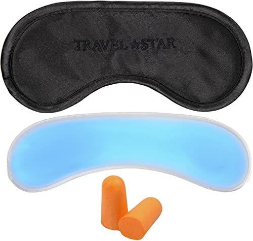travelstar: Maska do spania premium (czarna) z poduszką chłodzącą i zatyczkami do uszu  może być również używana jako maska chłodząca (TS-S-2000)
