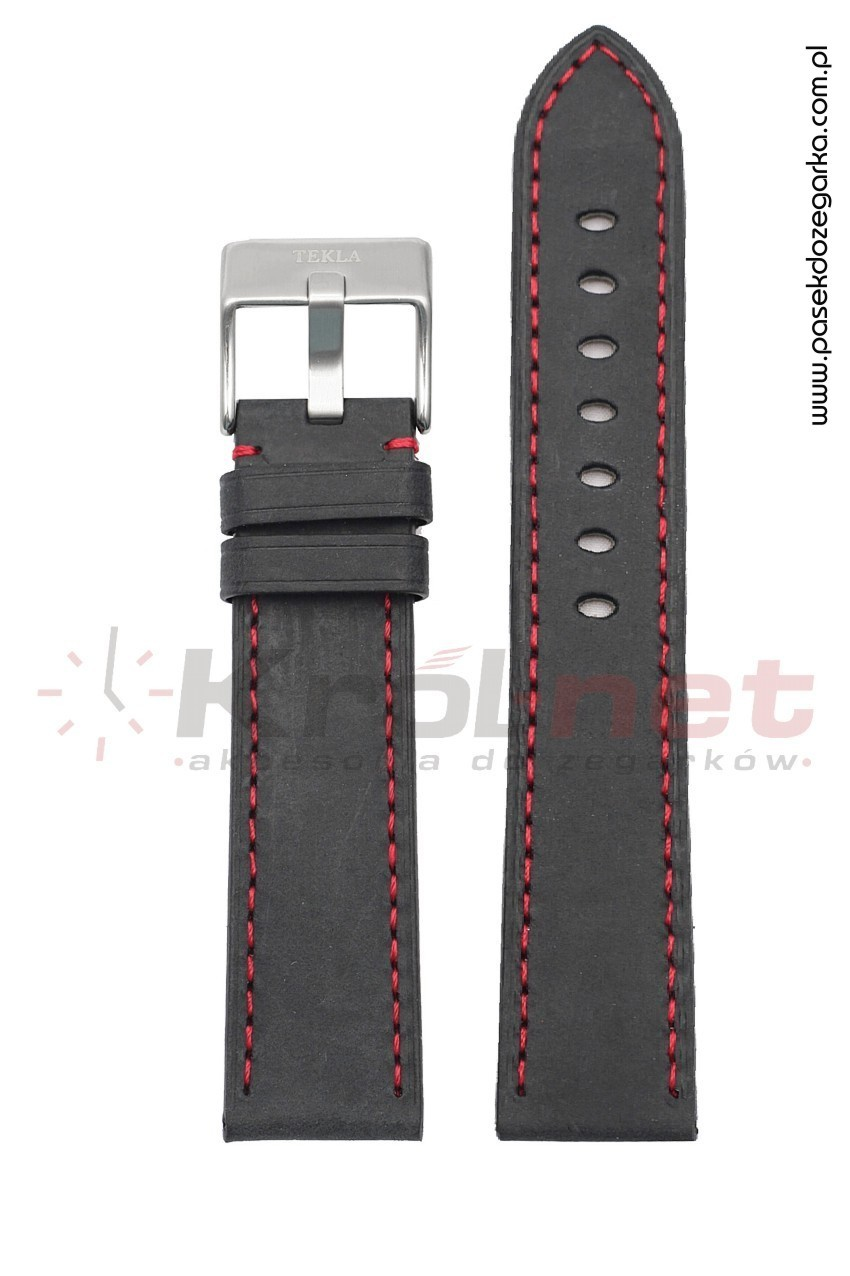 Pasek TK102/C/24 - czarny, czerwone nici