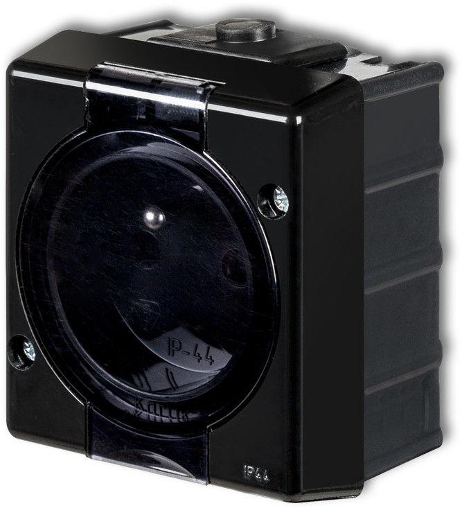 KARLIK SENIOR Gniazdo pojedyncze z uziemieniem 2P+Z (klapka dymna) 12GHS-1d, kolor czarny